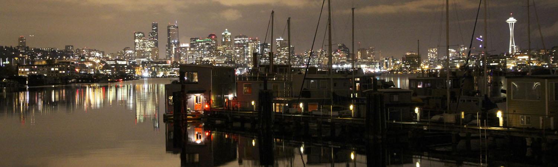Seattle skyline at night on Lake Union